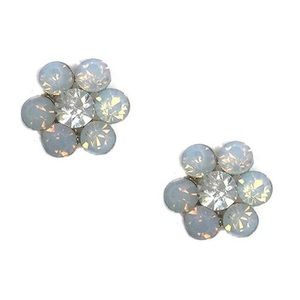 White Opal Iridescent Crystal Post Earrings, NWT